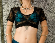 Black Lace Choli Top -  Short Sleeve Tribal Top - ATS, Tribal Fusion, Tribal Bellydance top
