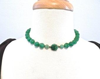 Vintage Jade Carved Bead Necklace jadite glass - on sale