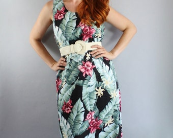 SALE - Vintage 90s Women's Tropical Hawaiian Vacation Summer Tiki Party Dress
