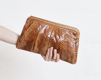 70s Brown Snakeskin PURSE / 1970s Convertible Leather Shoulder Bag or Clutch