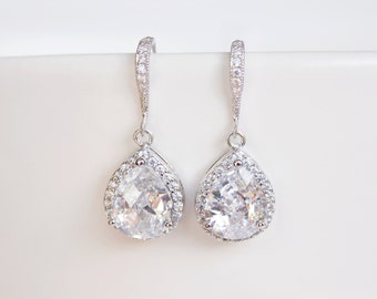 Cubic Zirconia Teardrop Earrings, Bridal Earrings, Sparkly Crystal Silver Earrings, Bridesmaid Gift, Wedding Jewellery