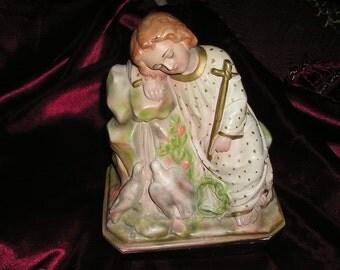 Vintage Religious Boy/Child Jesus Christ/w Doves Old Ornate Hand Painted Victorian Devotional Chalk Statue..