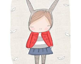 Nursery Girls Bedroom Art - Rabbit Wall Art - Little French Bunny Rabbit with Red Coat and Blue Skirt - Art Print 8x10 Children's Room