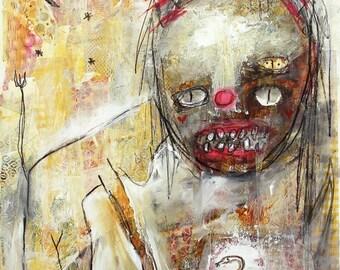 Creepy Art Print. strange monster dude art, modern art print, graffiti art, Lowbrow wall art, outsider art. devil woman, dark horror art