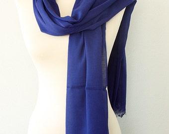 Organic bamboo scarf Navy blue scarf Parliament blue Soft summer shawl Dark blue wrap Bamboo pareo Natural fabric lightweight scarves