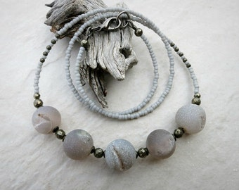 Gray Druzy Agate Necklace, Bohemian or tribal style necklace with light grey agate and druzy crystal beads