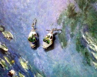 Chunky Muticolor Swirl Bicone Earrings (2246)