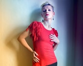 Firebird Top - Brigt Red Tank top Unisex Colorful top Shredded fabric Epaulettes size SM