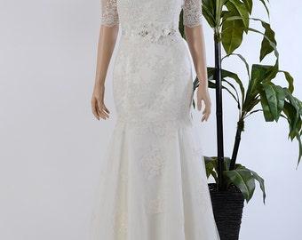 Mermaid strapless lace wedding dress with off shoulder bolero