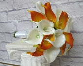 Wedding bouquet Bridal bouquet Real touch calla lily mango orange and white