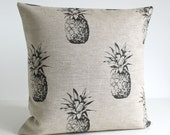 Pineapple pillow cover, 100% linen, Natural Pillow Cover, Pineapple Pillow, Pillow Sham, Cushion Cover, Throw Pillow - Pineapple Black