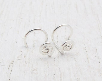 Small Spiral Stud Earrings / No Back Studs / Argentium Sterling Silver Earrings / Eco-Friendly Earrings / Coil Posts / Minimalist / 2108