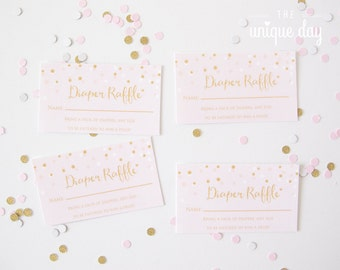 Diaper Raffle Invitation Insert - Printable, Instant Download, Baby Shower Gold  and Pink Glitter Confetti // BS-02