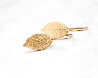 Gold Leaf Earrings Small Drop Earrings Gold Earrings Rustic Natural Rose Leaf 24K Gold Vermeil Gold Filled Forest Woodland Gift for Women