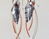 Sterling Silver Feather Leaf Earrings with Sterling and Copper Dangles Handmade
