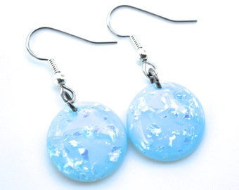 Opalescent Blue Rounds . Earrings