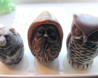 BEAR, OWL, & DWARF Soap Set, Woodland Bear, Owl, and Dwarf, Novelty Soap Set, Custom Colored and Scented, Owl Soap, Bear Soap, Man Soap