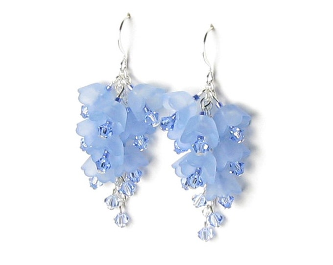 Blue Bell Floral Cluster Swarovski Crystal Silver Earrings Summer Flower Spring Wedding Bridesmaid Gift Jewelry Lucite Lightweight Long Drop