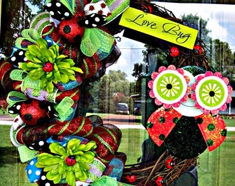 Summer Lady Bug Love Bug Wreath (ready to ship!)