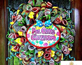 Teacher Classroom Wreath, wreath, wreaths, deco mesh wreath, deco mesh wreaths, front door wreaths, year round wreath, classroom, daycare