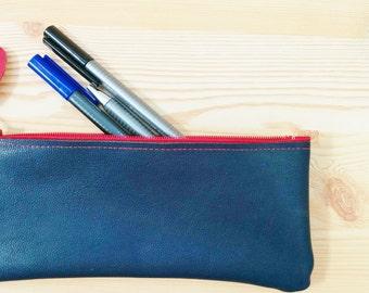Pencil case,leather pencil case, leather pencilcase, leather pouch, navy blue leather, blue pencil case, leather case,red heart leather