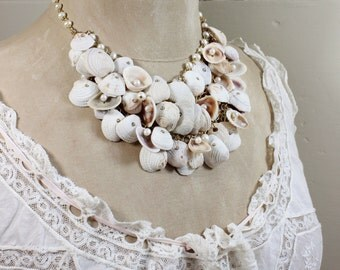 Swept Away- Sea Shell and Genuine Pearl Gold Plated Statement Necklace - Bridal Beach Wedding- One of a Kind