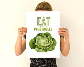 Eat your vegetables Poster print, Veggies Poster, Kitchen decor, Wall art , TYQ037WA3