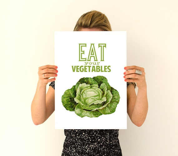 Eat your vegetables Poster print, Veggies Poster, Kitchen decor, Wall art , TYQ037WA3