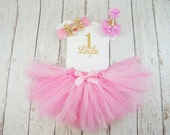 girl 1st birthday tutu outfit, pink and gold birthday outfit, pink tutu, baby girl, 1st birthday tutu, pink tutu skirt, 2nd birthday outfit