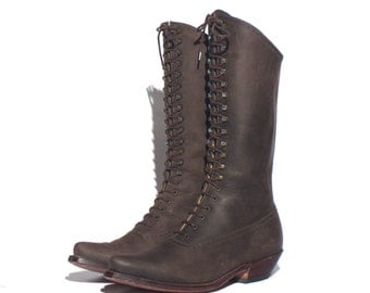 RESERVED for L 10 M | Women's Dan Post Tall Lace Up Brogue Leather Boots in Dark Brown
