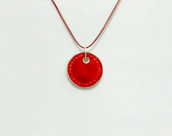 Ceramic Pendant, Ceramic Jewelry, Orange Pendant
