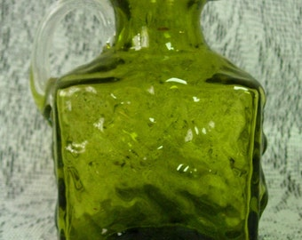 Pilgrim Glass Green Blown Glass  Square Syrup Pitcher or Creamer -Bark Textured, Clear Applied Handle