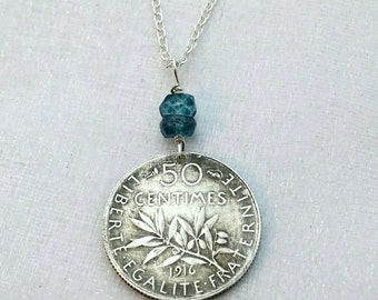 France coin necklace - Antique silver 50 centimes coin - Liberty with sun - olive branch - London blue topaz - art nouveau - old french