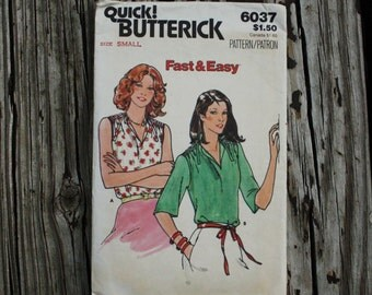 Quick Butterick 6037 1970s 70s Easy Gathered Summer Blouse Shirt Vintage Sewing Pattern Size Small Bust 32.5-34