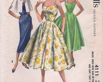 Beautiful Uncut Vintage 1950s McCall's 4111 Sleeveless Slim or Full Skirted Dress and Cape Sewing Pattern B34