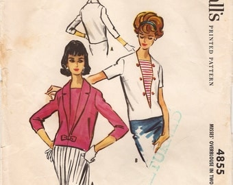 Great Vintage 1950s McCall's 4855 Nautical Middy Style Over Blouse in Two Versions Sewing Pattern B36