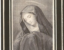1891 Antique French Holy Prayer Card Mater Dolorosa Sorrowful Mother Virgin Mary Engraving Christian Catholic from Vintage Paper Attic