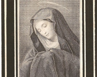 1891 Antique French Holy Prayer Card Mater Dolorosa Sorrowful Mother Virgin Mary Engraving Christian Catholic Blessed Mother