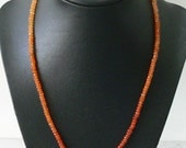 Orange Carnelian necklace for ladies AAA faceted stones and gold filled vermeil filagree clasp 18""