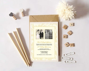 Personalized - Then and Now Two Photo 50th Wedding Anniversary Invitation - Gold and Cream - Custom Printable