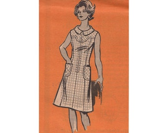 """Vintage 1970s A Line Shift Dress with Front Zipper Marian Martin Mail Order Pattern 9146 Princess Seams Size 12.5 Bust 35"""""""