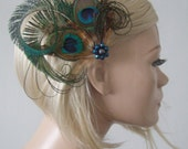 """Green Brown Blue Curled Peacock and Pheasant Feathers Fascinator Hair Clip """"Dahlia"""" FG2008 Bridal Prom"""