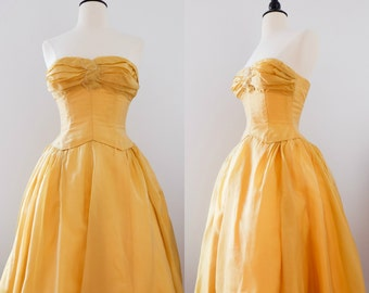 Vintage 1950s Golden Yellow Beaded Ball Gown and Shawl // 1950s Prom Dress