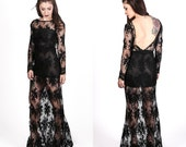 Vintage Gothic Lace Wedding Dress / Black Lace Long Sleeve Gown / Deep V Open Back Formal Dress