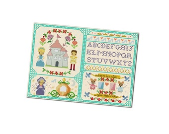 Cinderella Cross Stitch Pattern - Kawaii Cross Stitch Pdf - Cross Stitch Sampler - Cute Cross Stitch Pattern