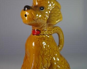Vintage Barbotine Majolica Poodle Pitcher Dog Jug