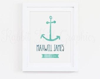 Anchor Name Print, Nautical Nursery, Digital Art Monogram Wall Art, Personalized Baby Boy Name, Birth Date, Blue