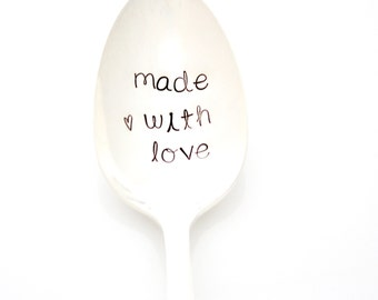 Serving Spoon, made with love. Hand stamped server by milk and honey luxuries