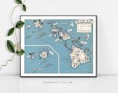 HAWAII MAP - Instant Digital Download - printable vintage map for framing, weddings, nursery, totes, cards, crafts - fun retro beach art