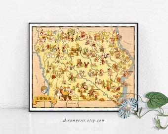 Vintage IOWA MAP - Instant Digital Download - printable map illustration for framing, totes, pillows, mugs, wall decor, cottage art, fabric